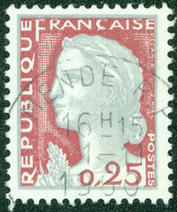 stamp printed in France shows Marianne, type Decaris