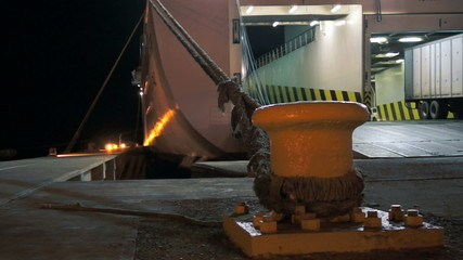 Ferry Loading Cargo During the Night