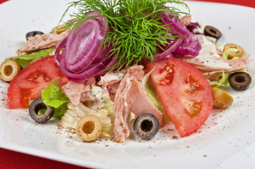 chicken meat filet salad