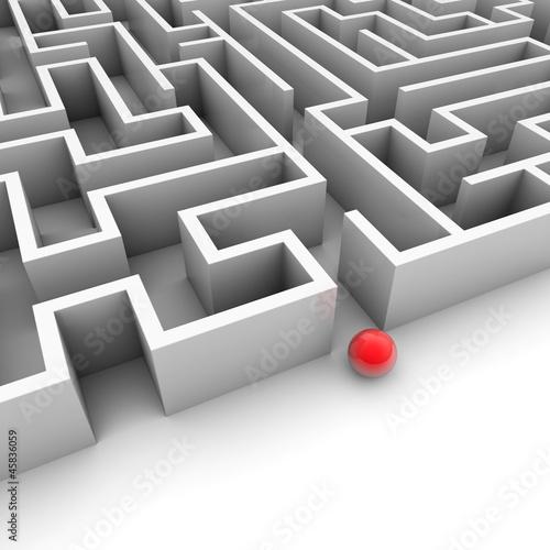 Labyrinth mit roter Kugel