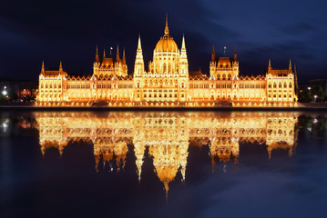 Budapest - Hungarian parliament.with reflection in Danube