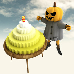 pumpkin witch with cake and candle on table with sky