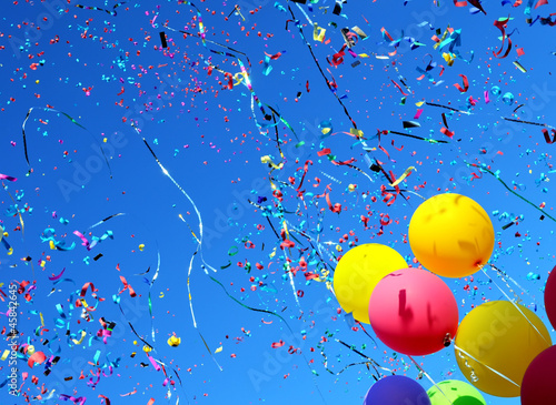 Poster Carnaval multicolored balloons and confetti