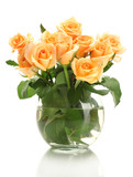 Fototapety beautiful bouquet of roses in transparent vase isolated on