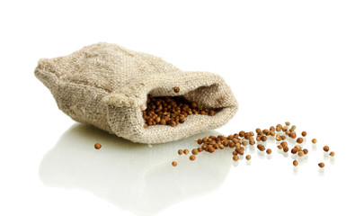 Coriander seeds in sack isolated on white
