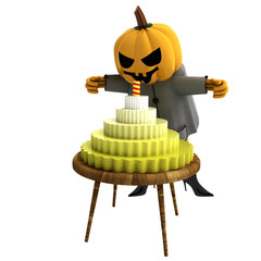 isolated witch with cake and candle on table illustration