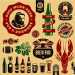 Beer pub labels, badges and icons collection. Monk beer label.