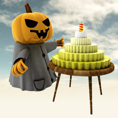 pumpkin witch with cake on table with sky illustration