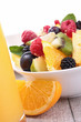 orange juice and fruit salad