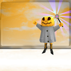 pumpkin with magic wand on right side ahead of board template