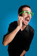 man screaming at the telephone