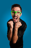 man screaming with green eyeglasses