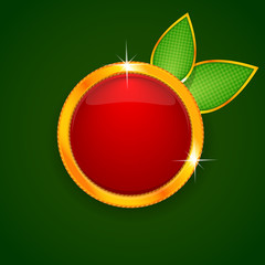 Beautiful red label in the form of apple on green background. Ve