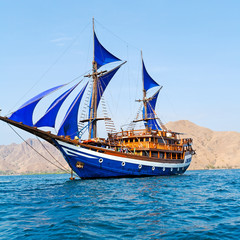Vintage Wooden Ship with Blue Sails