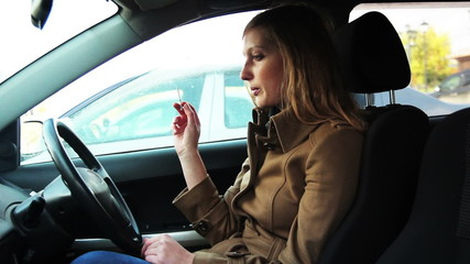 girl smoking n the car