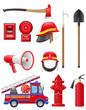 set icons of firefighting equipment vector illustration