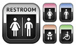 Restroom symbol, metallic button