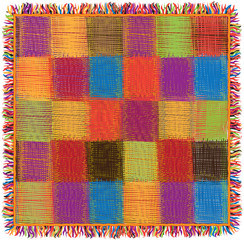 Colorful quilt  plaid with fringe