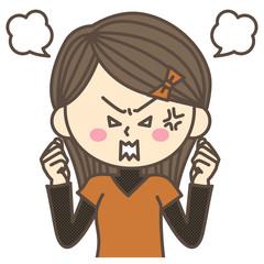 激怒するロングヘアの女性
