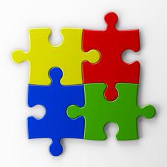 cuatro piezas de puzzle con trazado de recorte