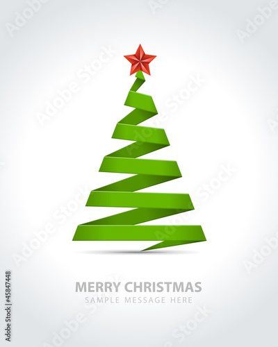 Christmas tree from paper ribbon vector background