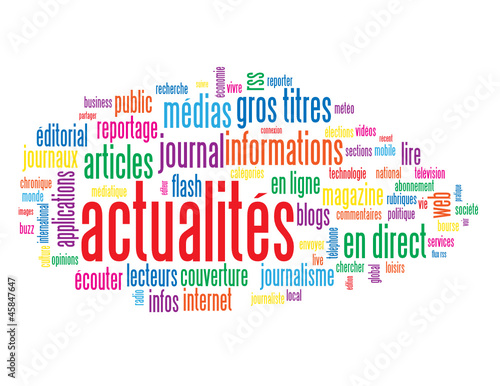"Nuage de Tags ""ACTUALITES"" (informations médias bouton direct)"