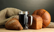 tankard of kvass and rye breads,