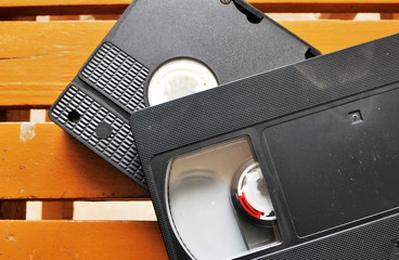Video tape on wood background