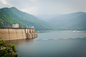 Big area for keep water on Bhumibol dam, Thailand