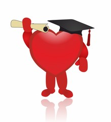red heart - graduation