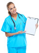 Beautiful gorgeous nurse holding writingpad and smiling