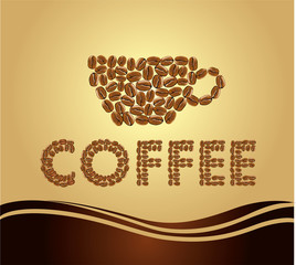coffee background with cup and beans