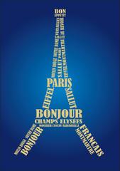paris eiffel tower with parisian blue