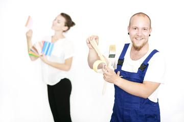Maler mit Kundin