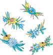 Miscellaneous blue and yellow flowers for ornaments