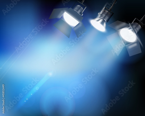 Spotlight from a performance. Vector illustration.