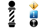Barbershop pictogram and icons poster