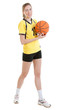 Young female basketball player with a ball