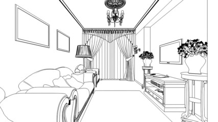 Classic interior creation, wireframe