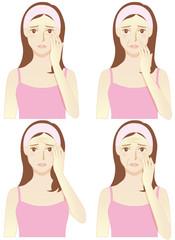 老化による肌トラブル(シワ:目尻・ほうれい線・おでこ・全体)