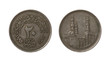 Twenty Egyptian qirsh or piastres coin isolated on white.