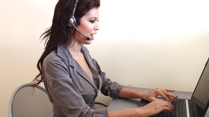 Customer Service female worker at call center