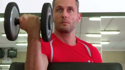 attractive man doing workout