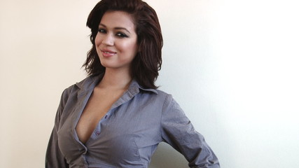 Positive emotions of sexy businesswoman