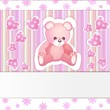 Pink baby shower card with teddy bear