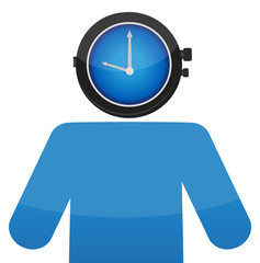 man with a watch face illustration design