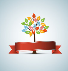 abstract futuristic stylized tree with color leafage