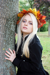 young Woman in the Natur in Autumn