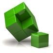 Green business concept. 3d cubes.