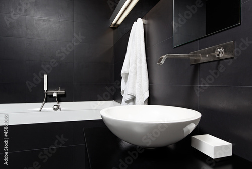 Modern minimalism style bathroom interior in black